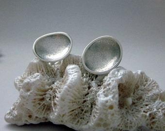 silver stud earrings organic tidal pool sterling large
