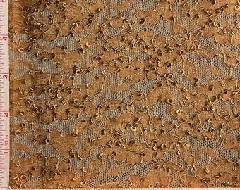 """Dark Taupe Large Flower Embroidery Lace Fabric 4 Way Stretch Nylon 68-70"""" 155907"""