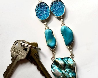 Turquoise blister pearl, turquoise and druzy necklace