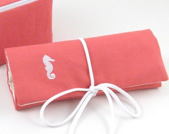Embroidered Jewelry Roll / Seahorse Jewelry Roll  / Personalized Travel Jewelry Roll / Jewelry Organizer / Jewelry Roll Travel Case