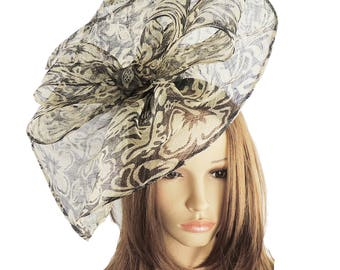 Commodore Black Cream Fascinator Hat for Weddings, Races, and Special Events With Headband