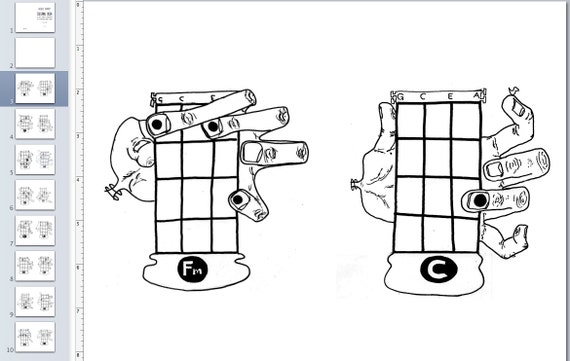 PDF Uke Coloring Book 16 Basic Ukulele Chords Monster Hand Drawings