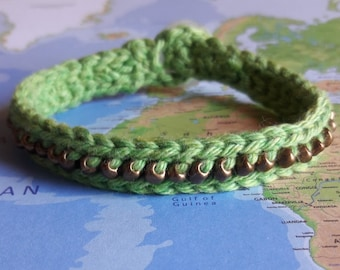 Green and Bronze Crochet with Beads Bracelet-Bracelet-Crochet Jewelry-Green-Bronze