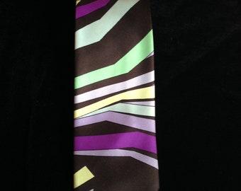 Vintage 70s Emilio Pucci Tie--Black--Green--Purple--Lavender