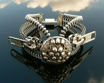 Silver Industrial Button Zipper Cuff