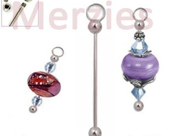 MERZIEs 51mm interchangeable silver ADD A BEAD CHANGEABLE charm bead removable end holders