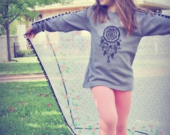 SALE! Size 6, Dream catcher shirt, Long sleeve tee, Hipster boy or girl shirt, Yoga kids shirt, Toddler winter shirt, Kids winter sale