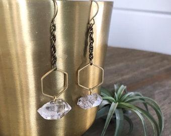 Herkimer Diamond Earrings - Boho Herkimer Diamond Earrings - Brass raw Herkimer Earrings