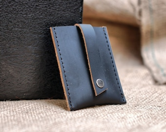 Fathers day gift - leather card wallet slim front pocket wallet case - graduation gift - IN STOCK