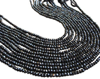 Black Spinel Beads, Black Spinel Rondelles, Faceted Rondelles, Black Gemstone, SKU 3567