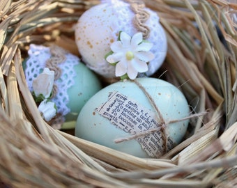 Spring Decor: Wire egg basket with three eggs