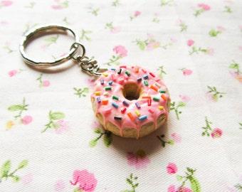 Pink Sprinkle Doughnut/Donut Keychain, Sweet Lolita, Kawaii Keychain, Cute Keychain, Food Keychain, Polymer Clay, Gift Idea