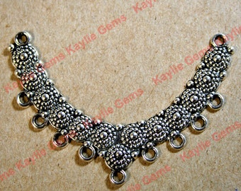 Stunning Crescent Center Piece Focal Necklace Connector Pendant Antique Silver -FRM-2054AS - 2pcs