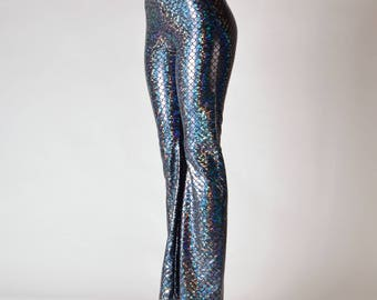 Green Mermaid Leggings & Flare Pants // Holographic Mermaid