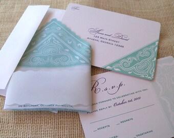 Hankie wedding invitation in aqua and purple, paisley wedding invitation set, rustic wedding invitations, handkerchief invitation, set of 25