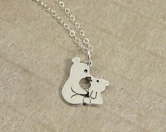 Kissing Bears Necklace, Sterling Silver Mama and Baby Bear Charm on a Silver Cable Chain