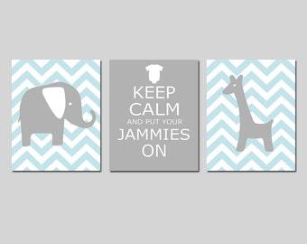 Boy Girl Nursery Art Trio - Chevron Elephant Giraffe - Keep Calm and Put Your Jammies On - Set of Three 11x14 Prints - CHOOSE YOUR COLORS