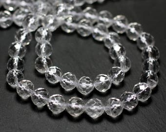 10pc - stone beads - Crystal Quartz faceted 3-4mm 4558550025661