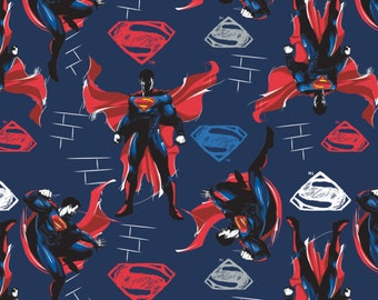 "Comics Fabric, Superman Fabric: New Camelot Batman V Superman Navy Blue and Red  100% cotton fabric by the yard 36""x44"" (CA356)"
