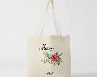 W100Y Tote bag wedding customizable flowers, cotton bag, bag bridesmaid, flowers, bag to offer, bag tote bag wedding handbag