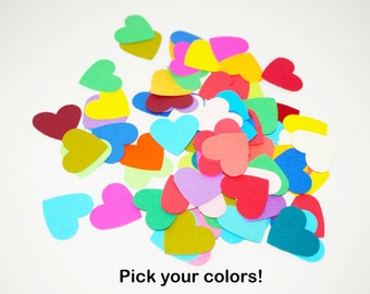 Colored Hearts, 100 Pieces Kraft Paper Hearts, 1 inch Hearts, Small Heart Confetti, Heart Table Scatter, Heart Die Cuts, Heart Cut Outs