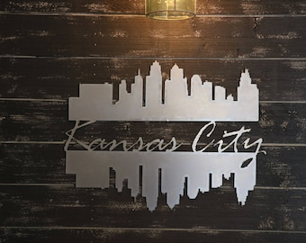 Metal Kansas City Double Skyline with river reflection