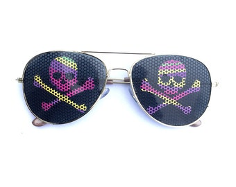 Colorful Skull & Cross Bones Jolly Roger Pirate Graphic Aviator Sunglasses
