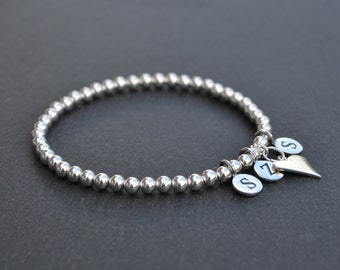 Sterling Silver Letter and Heart Charm Stretch Bracelet