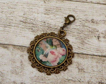 Pendant with hummingbird and roses jewelry pendant bag gift woman