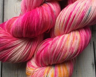 Hand Dyed Yarn, 3rd Clown from the Left, Hand Dyed Sock Yarn, Hand Dyed Variegated Sock Yarn, Circus Yarn Hand Dyed Pink Yarn, Shawl Yarn
