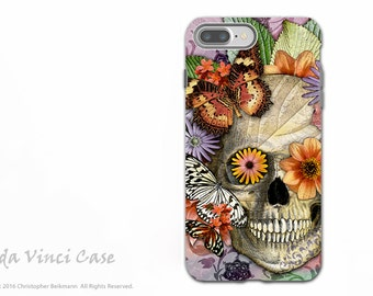 Butterfly Skull iPhone 7 PLUS - 8 PLUS Case - Dia De Los Muertos Artwork - Protective Dual Layer Tough Cover - Butterfly Botaniskull