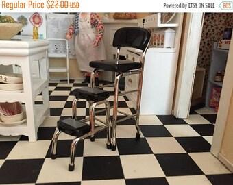SALE Miniature Black Metal Stool With Step Stool, Vintage Style Stool, Kitchen Stool, Dollhouse Miniature Furniture, 1:12 Scale