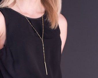 Necklace is long bar minimalist necklace