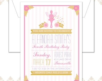 Princess Fairy Birthday Invitation, Modern Princess Invite, Garden Fairy Invite, Modern birthday Fairy Invite, Magical Fairy Dust Invitation