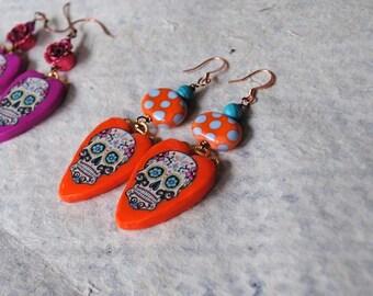 Halloween Earrings, Orange Sugar Skulls, Polymer Clay Earrings, Heart Earrings, Colorful Earrings, Large Earrings, Whimsical Earrings