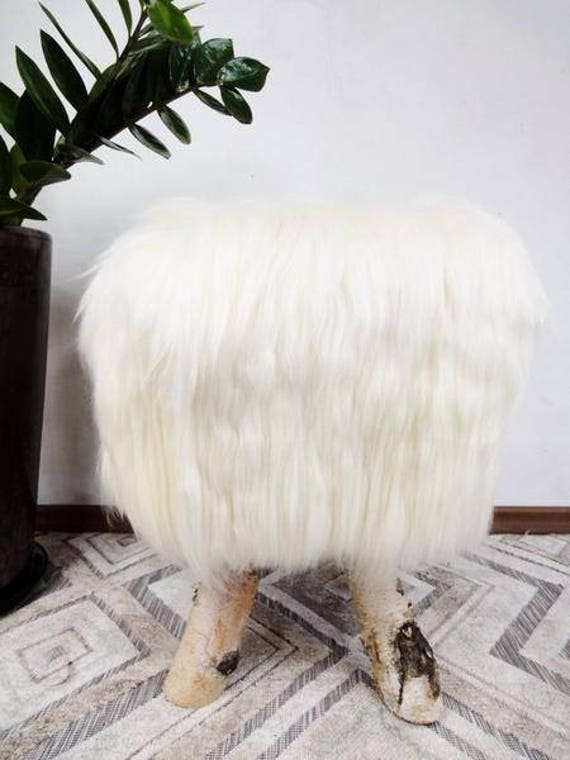 Unique sheepskin ottomans! Natural birch wood and genuine sheepskin. Very fluffy! Healthy for kids! Prime quality!