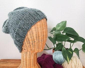 Basic Knit Slouchy Beanie in Seafoam Tweed