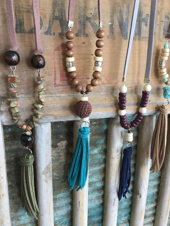 Tassel Necklace - Long Layering Faux Leather Necklace with Wood and Jasper Beads - Your Choice of ONE Unique Necklace