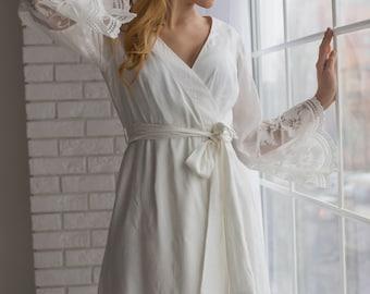 Spitze abgesetzt Bridal Robe aus meiner Paris Inspirationen Sammlung - Floral überbacken langen Manchetten
