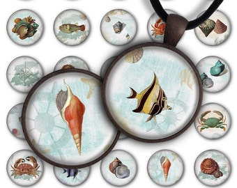 75% OFF SALE Digital Collage Sheet Ocean - 1inch Round 30mm 25mm 20mm Summer Circle Pendant Download PC072 Instant Download Jewelry Making