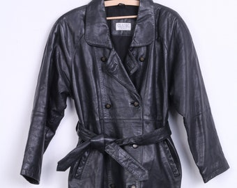 Classic Woman 12 Coat Soft Leather Black Double Breasted Raglan Sleeve