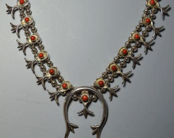 Native American Vintage Navajo silver and coral squash blossom necklace