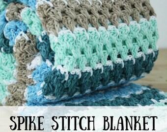 Haakpatroon: spike stitch deken (PDF), patroon gehaakte deken, haakpatroon deken, gemakkelijk haakpatroon deken, haakpatroon
