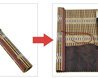 Free Shipping Chinese Calligraphy Material  36x30cm Natural Bamboo Roll-up Brush Holder / Brush Protecting Bag - L - 0003
