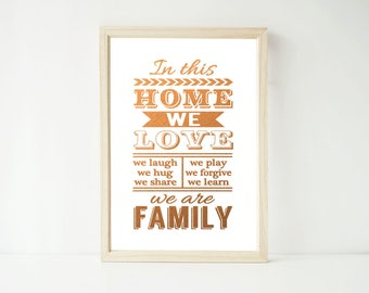 Real Foil Print -In Tjis Home We Love Family Rules Poster Prints, Home Decor Wall Art, Gold, Gopper, Silver