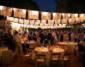 SALE - Wedding Garland AMOR Papel Picado Banner Fiesta Wedding banner Weddings papercut bunting Mexican decoration outdoor wedding mexico