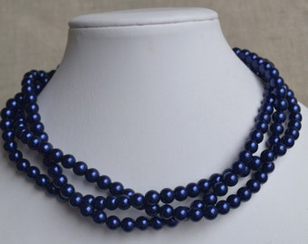 navy blue  pearl necklace,3-rows pearl necklaces,bridesmaids necklace,navy glass pearls necklaces, pearl necklace,necklace,wedding,jewelry