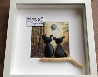 Pebble Art dog picture, gifts for her, gifts for him, dog picture, dog art, animal art, pebble Art dogs, animal lover gift, dog lover gift