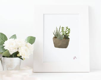 Succulents Acrylic Painting Print