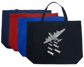 Large Tote Bag - Created using the phrase Drop Beats Not Bombs